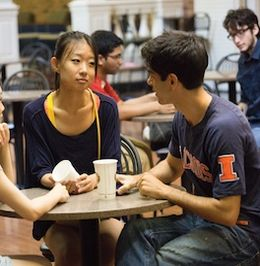 Students chatting in the Courtyard Café